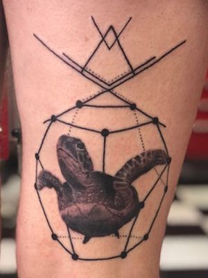Geometric turtle #turtle #sea #realism #blackandgrey