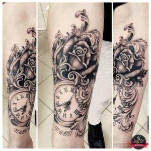 #tattoo #rose #rosetattoo #ornament #armtattoo #clock #clocktattoo #ornamenttattoo #black #shades #blackandgrey #realistictattoo