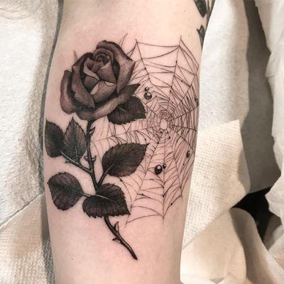Tattoo by Miss Juliet #MissJuliet #naturetattoo #rose #flower #floral #leaves #thorns #plant #spiderweb #dewdrops #spider #blackandgrey #illustrative