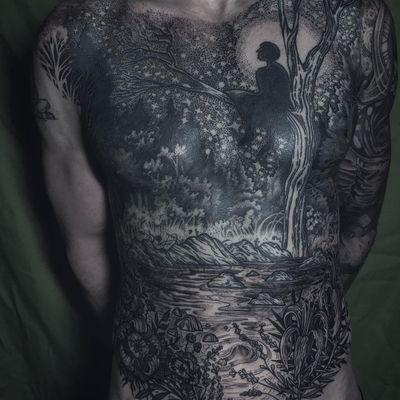 Tattoo by Noel'le Longhaul #NoelleLonghaul #naturetattoo #blackwork #dotwork #linework #illustrative #silhouette #tree #forest #flowers #nature #plants #floral #river #water #stars #moon #dreams