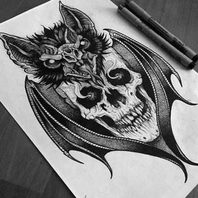 #scull#sculltatoo#bat#battatoo#black