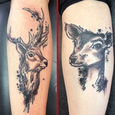 Stag and doe couple's tattoo #stag #doe #deer #matchingtattoos #couple #animal #blackandgrey