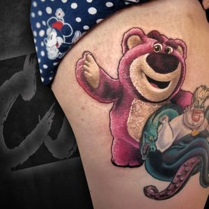 Evil toy story bear added to this disney villains leg wrap.