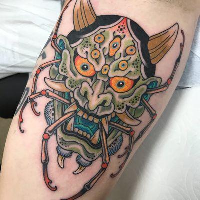Tattoo by Marc Nava #MarcNava #color #Japanese #Hannya #yokai #demon #ghost #mask #darkart #evil #horns #spider #monster #thirdeye #eyes
