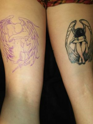My fallen angel tats on the back of my thighs