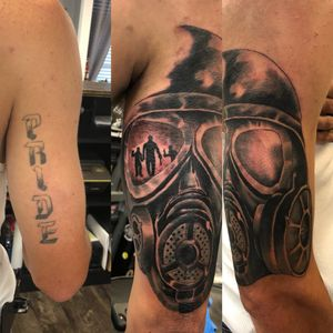 Before and after. Coverup lettering with gas mask