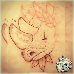 New Sketch Available! In progress! #draw #drawing #tattoo #tattoos #ink #sketch #sketchbook #logo #crown #rhino #horn #leaves #eye #neotraditional#neotrad #red #black