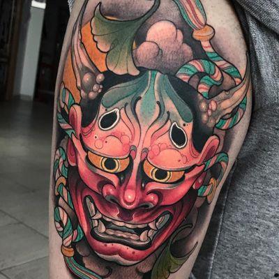 Tattoo by Oash Rodriguez #OashRodriguez #Hannyatattoo #color #Japanese #Hannya #yokai #demon #ghost #mask #neotraditional #horns