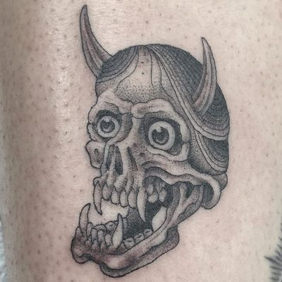 Tattoo by Hanna Sandstrom #HannaSandstrom #KaptenHanna #Hannyatattoo #blackandgrey #Japanese #Hannya #yokai #demon #ghost #mask #illustrative #oldschool #skull #death #horns