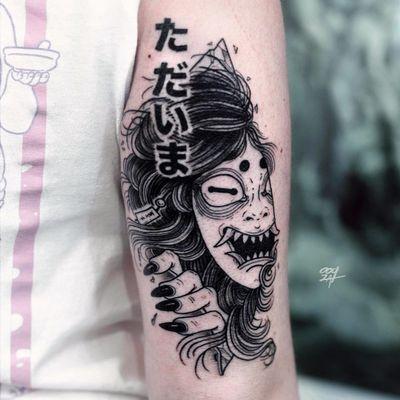 Tattoo by Ooqza #Ooqza #Hannyatattoo #blackwork #anime #manga #illustrative #Japanese #Hannya #yokai #demon #ghost #mask #surreal #evil #horns #kanji #darkart