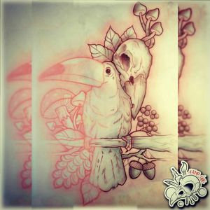 New Sketch Not Available! In progress! #draw #drawing #tattoo #tattoos #ink #sketch #sketchbook #logo #skull #crow #mushrooms #acorns #pinecone #leaves #eye #neotraditional #neotrad #red #black
