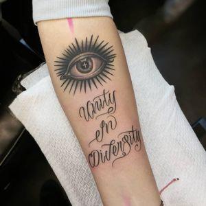Tattoo by Liam Ryan #LiamRyan #MotorinkFinestTattooing #Amsterdam #script #lettering #text #quote #eye #thirdeye