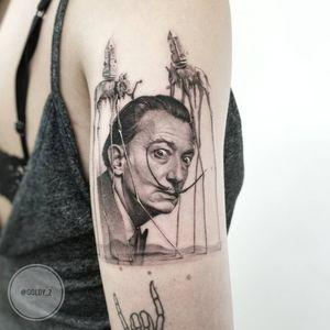Tattoo by Zlata Kolomoyskaya #ZlataKolomoyskaya #GoldyZ #surrealtattoo #Dali #SalvadorDali #surreal #strange #dream #portrait #blackandgrey #realism #realistic #elephants #monolith #fineart #painting