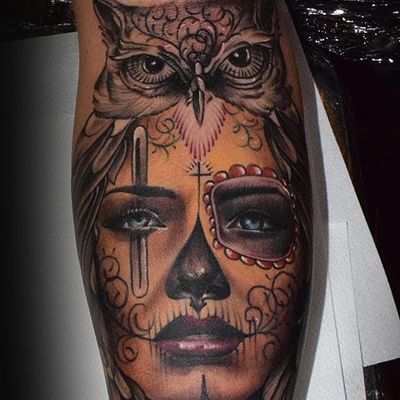 By @Josef_Tattoo at #eaststreettattoo #stockholm #sweden #chicano #girlface #owl #blackandgrey