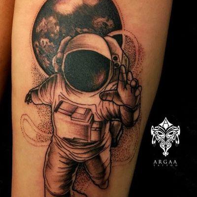 By @argaa #swedishtattoos #stockholm #astronaut #moon #space #blackandgrey #dotwork #linework