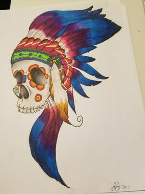 Sugar/tribal skull esq I did for a friend! Done with prismacolor markers! #skull #feathers #sugarskull #prismacolors #itrymybest #critique