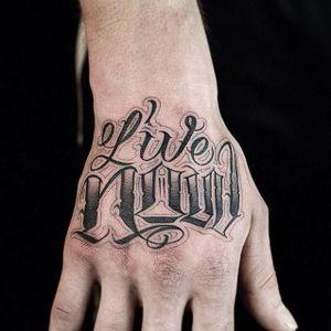 Tattoo by Liam Ryan #LiamRyan #MotorinkFinestTattooing #Amsterdam #script #lettering #text #quote