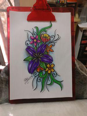 Flores: original e disponível... #desenho #originalart @mauriciotattoohall #mauriciotatuador