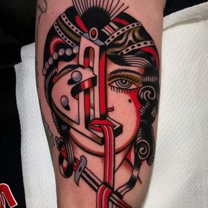 Tattoo by Bob Geerts #BobGeerts #surrealtattoo #surreal #strange #traditional #color #ladyhead #lady #landscape #sword #lips #gypsy