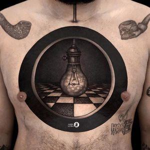 Tattoo by Jamie Luna #JamieLuna #surrealtattoo #blackandgrey #surreal #strange #lightbuld #checkerboard #opticalillusion #idea #creative #blackink