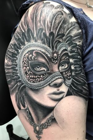 Masquerade lady Black and gray portrait