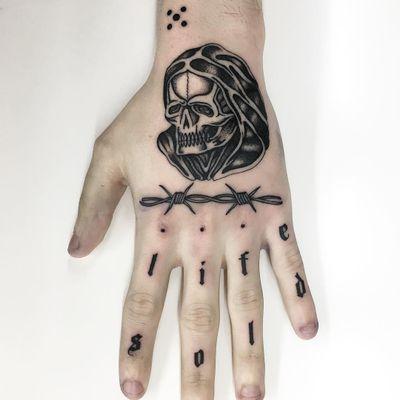 Tattoo by a.a.tattooer #AA #AAtattooer #letteringtattoos #letteringtattoos #lettering #text #quote #oldenglish #blackwork #reaper #death #barbedwire