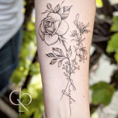 Rose and Honeysuckle #floral #floraltattoo #flowertattoo #rosestattoo #fineline #delicatetattoo #dotworktattoo #BlackworkTattoos #castofcrowns
