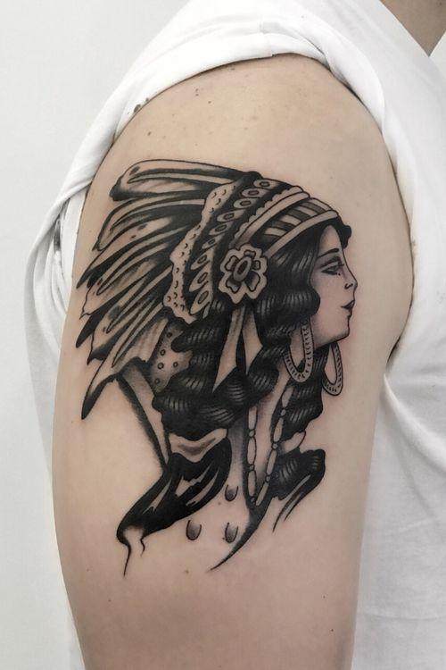 #traditional #traditional #blackandgrey #Black #girlhead #tattooartist #tattooart