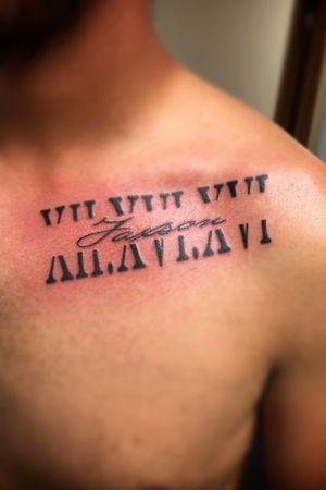 Roman numerals name tattoo
