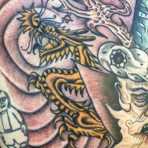 Tattoo by Matt Bivetto #MattBivetto #besttattoos #color #dragon #Japanese #filler #mythicalcreature #surreal