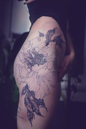 Tattoo by Sara Fabel #sarafabel #wip #workinprogress #firstsession #peony #flower #floral #illustrative