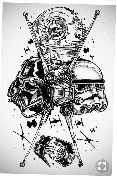 Star wars tattoo #starwars #starwarstattoo #darthvader #xwingstarfighter #xwing #stormtrooper #Deathstar