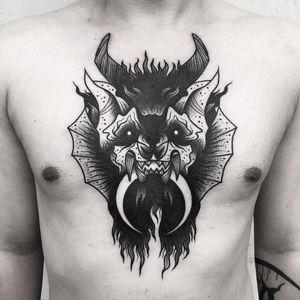 Tattoo by Matt Chaos #MattChaos #besttattoos #blackwork #chestpiece #demon #moon #monster #horns #creature #surreal #strange