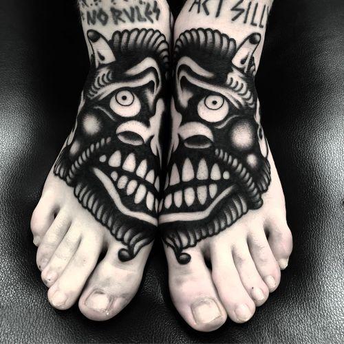 Tattoo by Ruco #Ruco #besttattoos #blackwork #foottattoo #monster #demon #face #ghost #darkart