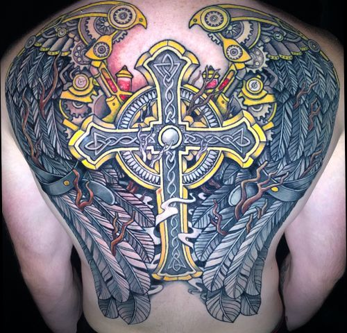 This Cross with Wings was a joint effort with @inkedlife1979 and @sidalmostvicious