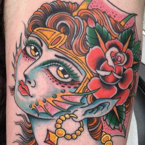 Tattoo by Klem Diglio #KlemDiglio #besttattoos #lady #color #traditional #portrait #ladyhead #mermaid #mythicalcreature #rose #flower #leaves #nature #ocean #oceanlife #jewelry #crown