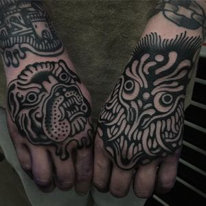 Tattoo by Will Geary #WillGeary #besttattoos #blackwork #illustrative #demon #monster #portrait #petportrait #ghost #evil #dog #bulldog