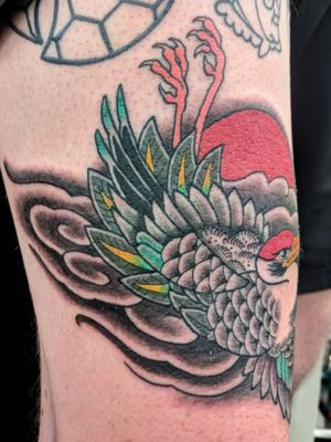 One hit Japanese Crane. Swipe 👉 wrapping on the thigh. Thanks Aiden. @stonehearttattoo Bookings 📧ogradytattoo@hush.com #benogrady #benogradytattoo #ogradytattoo#benogradygallery #sydneytattooartist#australiantattooartist #traditionaltattoo #boldwillhold #brightandbold #japanesetattoo #japanesetattoosubject #irezumi #japanesetattooart #stonehearttattoo#stoneheartbodyart #australiantattooistsguild #cranetattoo