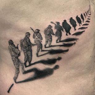 By @true_grim_tattoos in #LDFTattoo #australia #sydney #blackandgrey #blackwork #realism #soldier #shadow