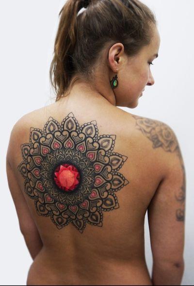 Ornamental bongo style mandala . Thank you for looking. #bongostyle #obitattoo #equillatera #dotworktattoo #lineworktattoo #ornamentaltattoo #crystal #diamond #backpiece #tattoo #tattoosofinstagram #geometrictattooy