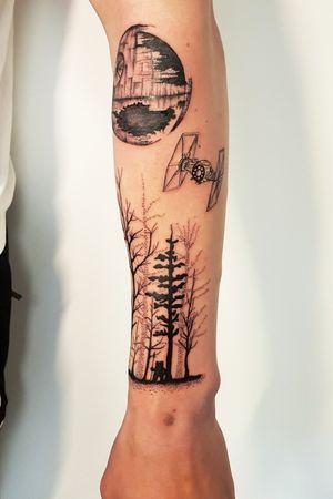 Star wars sleeve tattoo in progress