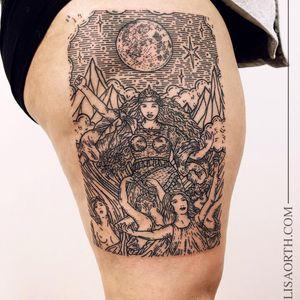 Tattoo by Lisa Orth #LisaOrth #moontattoos #moontattoos #moon #sky #stars #space #dream #portrait #ladies #goddess #warrior #linework #illustrative #mountains #clouds