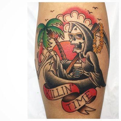 by 👉🏽 Lars 👉🏽 @shinou_tattoo • #eftc #shinoutattoo #floaties #reaper #americantraditionaltattoo #traditionaltattoo #reapertattoo #killintime #electricflamingotattoo #grimreaper #sailor #coopercitytattoo #coopercity #heidelberg #heidelbergtattoo #miami #sandhausen #sandhausentattoo