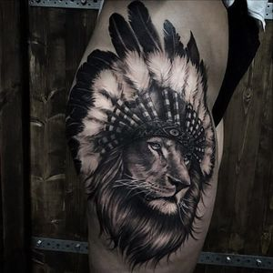 Lion on the thigh