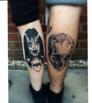Dark tattoos are the best tattoos 💀😏 (Both tattoos are healed ) #scoobydoo#tattooapprentice#topguntattoo#tattoo#tattooing#tattooist#thornhexgirls#worldfamousink#starrtattoosupplies#h2ocean#ghostcartridges#blackandgreytattoo#darktrashtattoo#apprenticetattoo#customdesign#tattoolife#inked#cartoontattoo#wip#darktattoo#skulltattoo#realism#realismtattoo#blackworktattoo#blackandgreytattoo#darkart