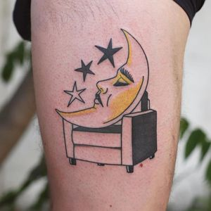 Tattoo by Patryk Hilton #PatrykHilton #moontattoos #moontattoos #moon #sky #stars #space #dream #crescentmoon #sleep #portrait #couch #chair