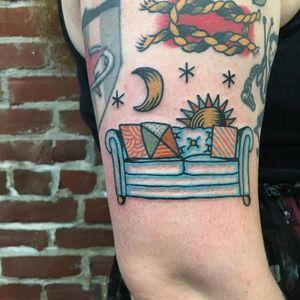 Tattoo by Henry Hablak #HenryHablak #moontattoos #moontattoos #moon #sky #stars #space #dream #couch #stars #sun #sleep #pattern