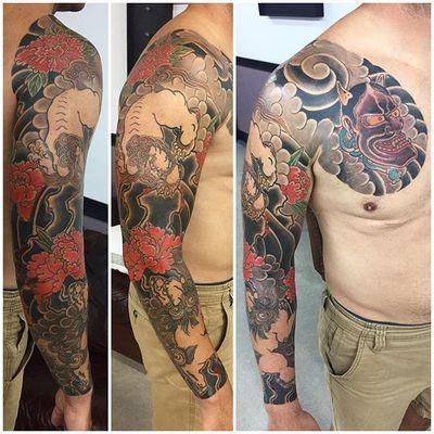 By Lars @shinou_tattoo • #traditionaljapanesetattoo #irezumi #japanese #electricflamingotattoo #wabori #eftc #shishi #botan #foodog #japan #heidelberg #miami #peonytattoo #cherryblossom #coopercity #coopercitytattoo #japanesetraditional #japanesetattoo #daviefl #tatuajes #sandhausen #sandhausentattoo