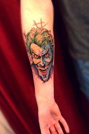 Joker tattoo Had lots of fun doing #joker piece client sat very well would love to do more like this!#topguntattoo#tattooapprentice#apprenticetattoo#worldfamousink#starrtattoosupplies#tattoo#tattooing#tattooart#comictattoo#jokertattoo#dc#dctattoo#art#wip#sleeve#tattooist#youngartist#tattoolife#inked#ghostcartridges