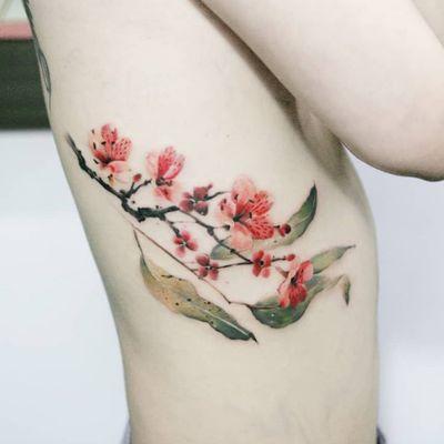 Plum blossom & leaf by SION (@tattooistsion) #flowertattoo #floraltattoo #Korea #KoreanArtist #tattooistsion #plumblossom #cherryblossomtattoo #leaftattoo #colortattoo #flower #flowers #oriental